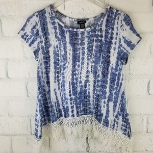 rue 21 Blue and White Asymmetrical Top. Size M